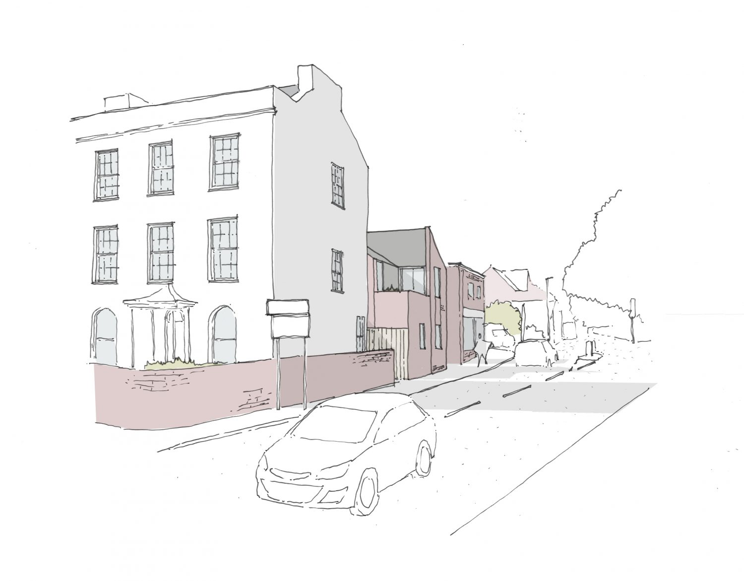 Contemporary new build architects sketch Magdalen Road Exeter