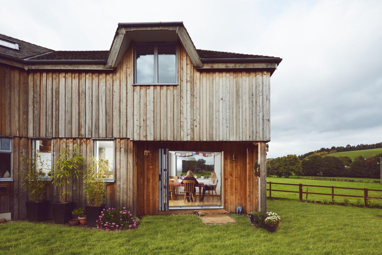 View through architect designed extension in Kenton, Devon.